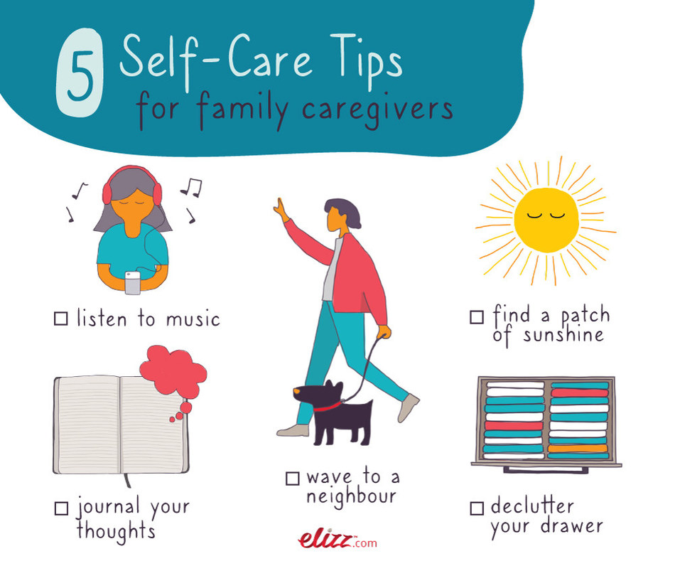 Elizz has created self care tips for family caregivers to share with a friend who is busy caring for others. (CNW Group/SE Health)