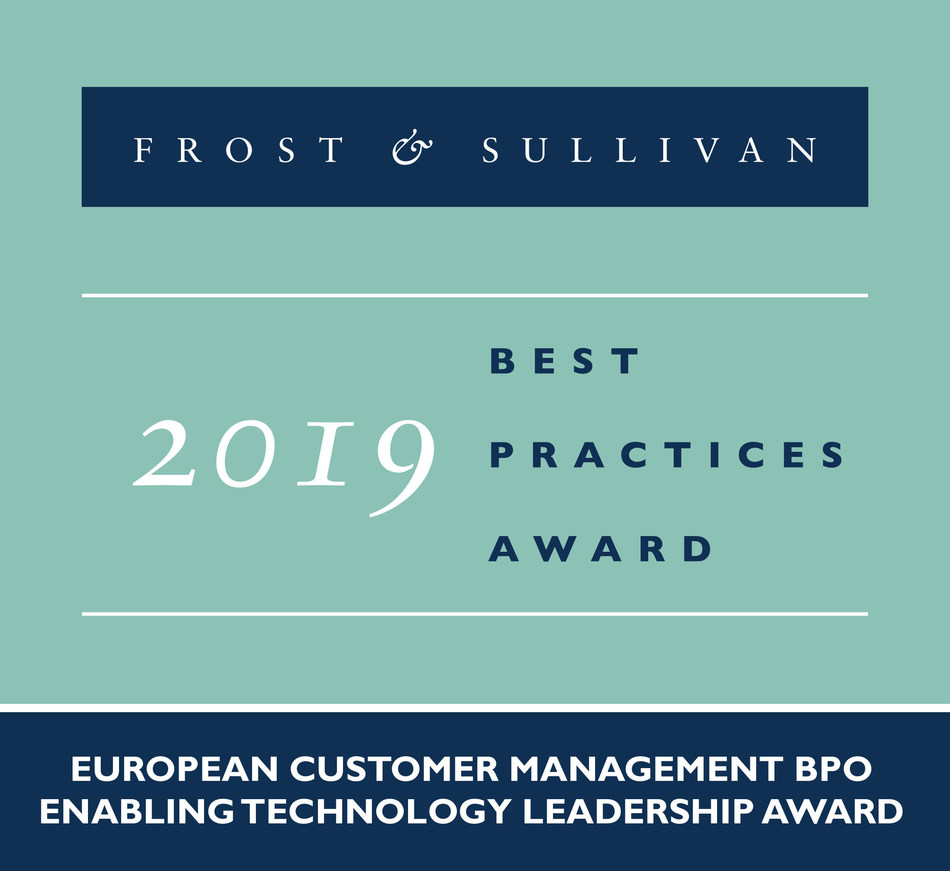 2019 European Customer Management BPO Enabling Technology Leadership Award (PRNewsfoto/Frost & Sullivan)