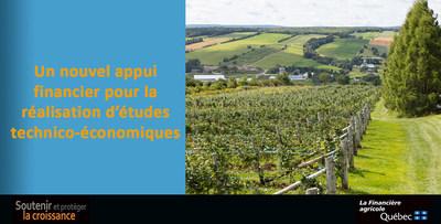 Le Programme d'appui à la réalisation d'études technico-économiques entrera en vigueur à compter du 1er avril 2019 et bénéficiera d'une enveloppe de 1 million de dollars sur 5 ans. (Groupe CNW/La Financière agricole du Québec)
