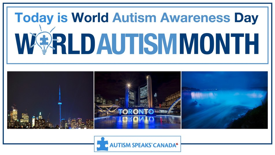 April 2nd is UN sanctioned and Canadian Parliament approved World Autism Awareness Day. Many global monuments will light up blue to show their support for the autistic community. Join us in celebrating World Autism Awareness Day and #LightItUpBlue.  #CNTower #CityHall #NiagaraFalls #WorldAutismMonth #WorldAutismAwarenessDay @AustismSpeaksCAN (CNW Group/Autism Speaks Canada)