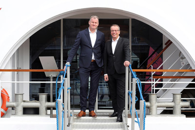 Simon Provoost (left), Managing Director of Concordia Damen Shipyard, and Jörg Eichler (right), Managing Director and Partner of A-ROSA Flussschiff GmbH, have developed a wealth of innovations for the new A-ROSA ship. Photo: A-ROSA/Tom Kohler