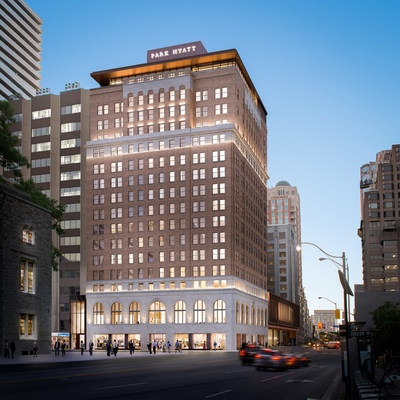 Exterior shot of the restored Park Hyatt heritage South Tower, which will feature 65 luxury rental apartments (CNW Group/Oxford Properties Group Inc.)