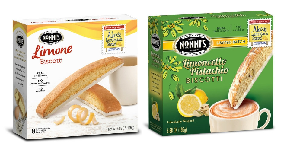 Nonni's limited-edition Limoncello Pistachio Biscotti and classic Limone Biscotti will support Alex's Lemonade Stand Foundation's fight against childhood cancer