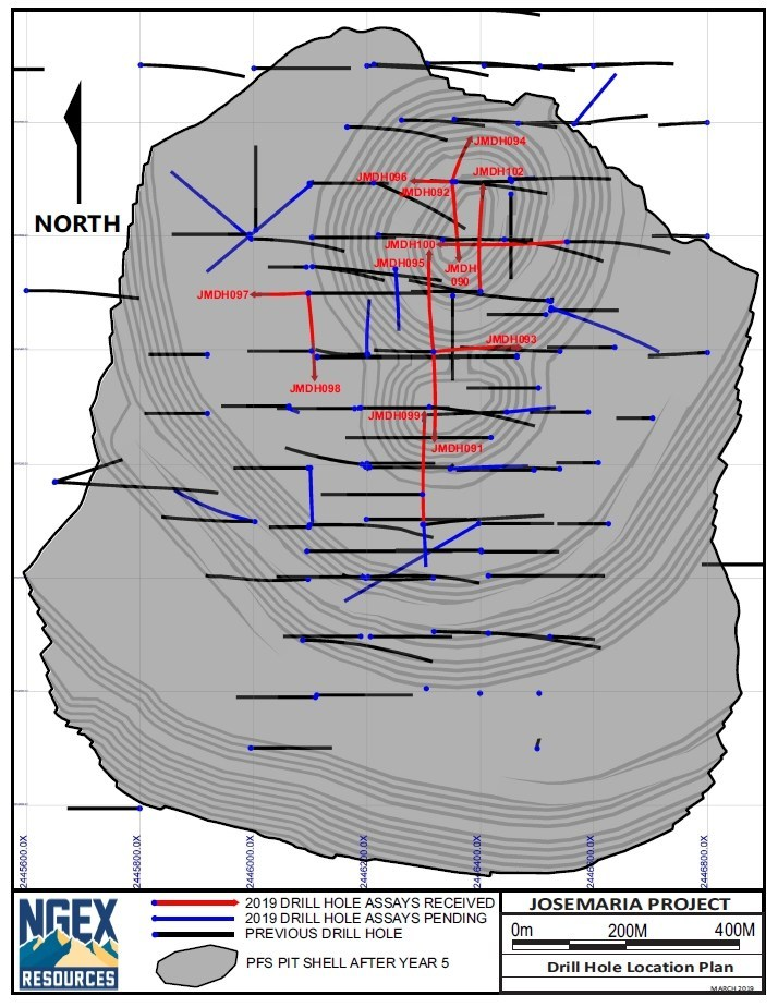 Josemaria Drill Hole Figure (CNW Group/NGEx Resources Inc.)
