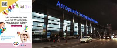 El Aeropuerto de Tijuana se ilumina de azul.