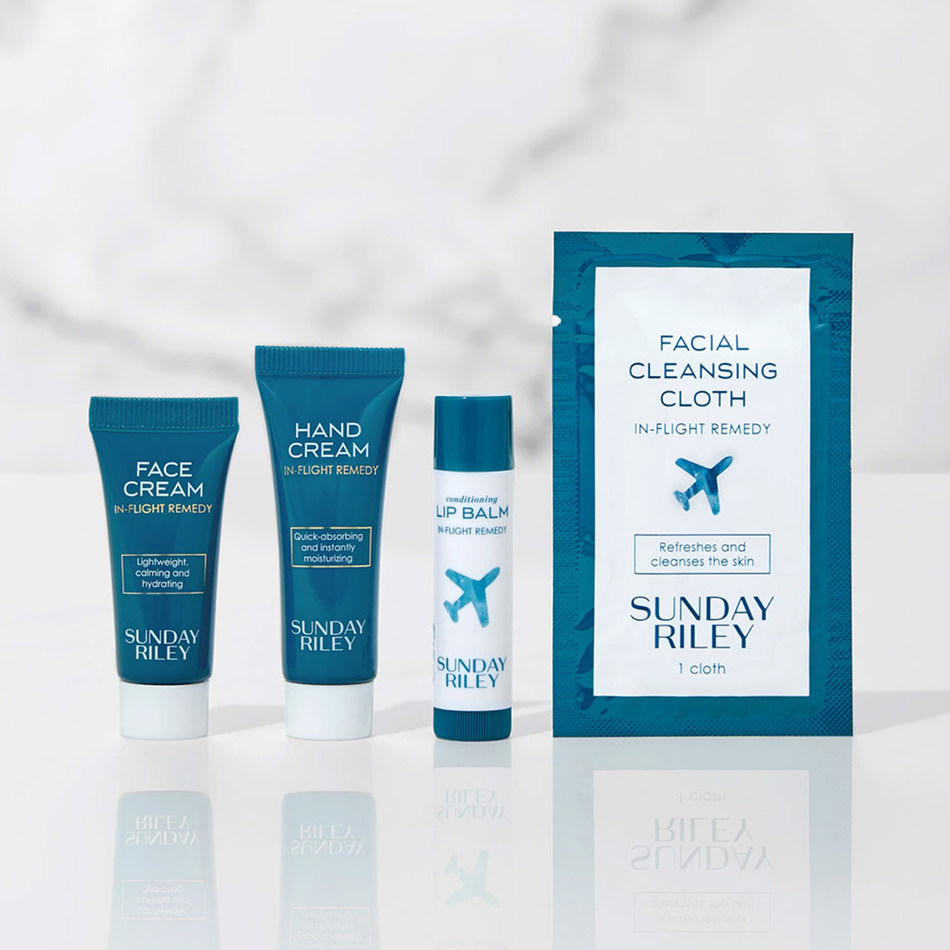 United's inflight skincare collection formulated by Sunday Riley.