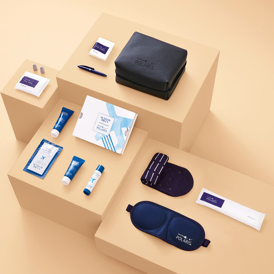 United Polaris business class amenity kit will feature four Sunday Riley products: a lip balm with pomegranate seed oil and shea butter to boost hydration; a face cream with a blend of botanicals to hydrate and soothe skin in-flight; hand cream containing a nourishing blend of shea butter, cocoa butter and rose hip seed oil; and a facial cleansing cloth containing peppermint extract to balance oil and invigorate skin.