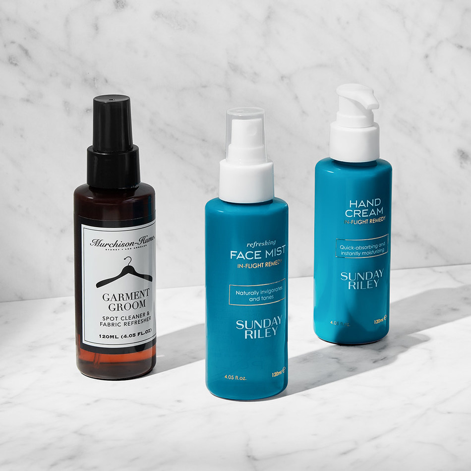 Premium cabin lavatories on dozens of aircraft in United's fleet will also offer a face mist and hand cream formulated by Sunday Riley, as well as other new products, like the Garment Groom 2-1 spot cleaner and fabric freshener created by Murchison-Hume.