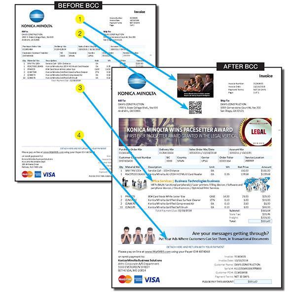 Sample form showing before BCC and after BCC is used to dynamically control the ads and messaging in production.1. Fixed White Space, 2. Dynamic QR code, 3. Creative White Space, 4. Lost White Space. BCC gives users control of all white space, even creating space dynamically in tables, based on data value or phrase.