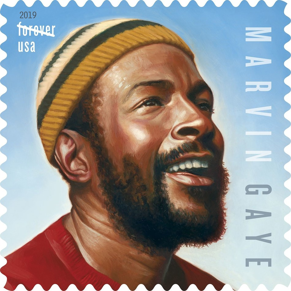 With his own Forever Stamp announced today, Marvin Gaye joins music legends Ray Charles, Elvis Presley, Johnny Cash, Sarah Vaughan, John Lennon, Jimi Hendrix, Janis Joplin and Lydia Mendoza as the latest addition to the U.S. Postal Service's Music Icons stamp series.