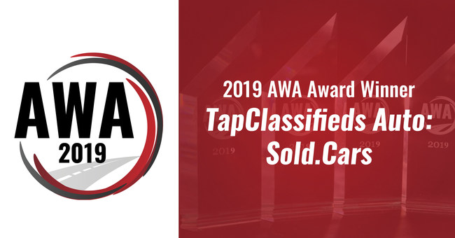 TapClassifieds has won a 2019 AWA Award in the Digital Marketing category for their Sold.Cars Platform.