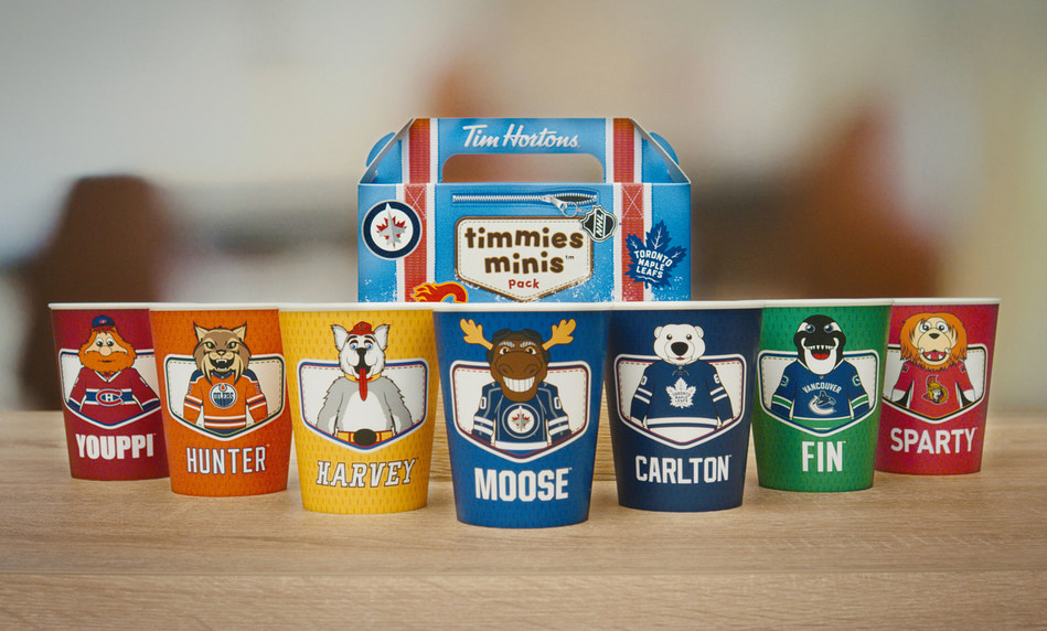 Available for a limited time, the limited edition cups come with a fun, NHL®-themed  Timmies Minis pack box - guests can collect all seven cups while supplies last. (CNW Group/Tim Hortons)