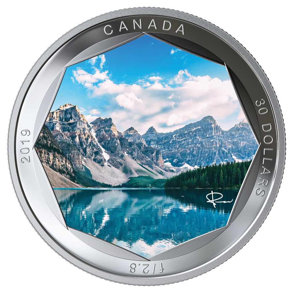 The Royal Canadian Mint's Peter McKinnon Series Fine Silver Coin featuring Moraine Lake