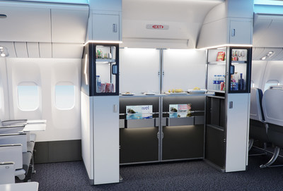 The Collins Aerospace M-Flex™ Duet is a revolutionary cabin monument designed to transform the least optimized area of the cabin, the aircraft doorway, into a self-serve social zone or cabin attendant working area.
