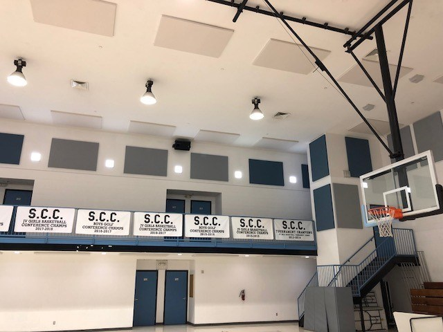 REVRB Acoustical Panels installed in Gymnasium