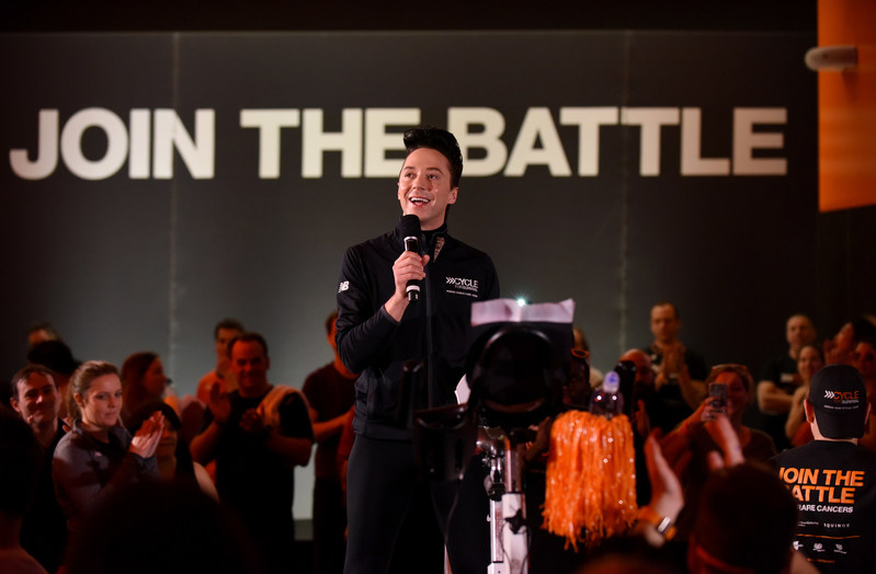 Johnny Weir, U.S. figure skating champion, gives a speech at a Cycle for Survival event in New York City. 100 percent of every dollar raised goes to groundbreaking rare cancer research led by Memorial Sloan Kettering Cancer Center.