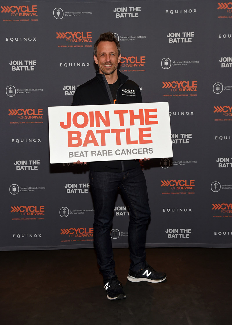 Seth Meyers shows his support at a Cycle for Survival event at Equinox Bryant Park in New York City. More than 36,000 people participated in the indoor team cycling events this year to fund rare cancer research and clinical trials.