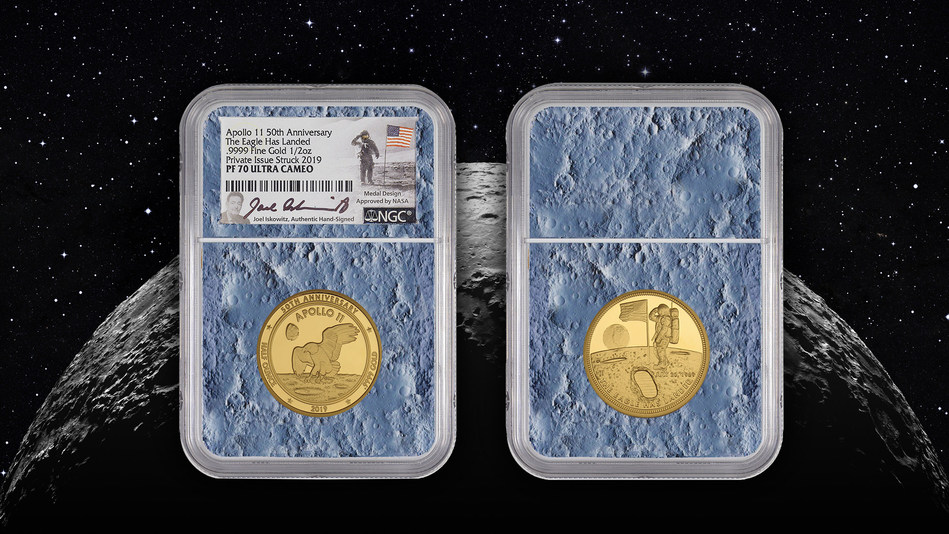 "NASA Approved Design - 2019 ""The Eagle Has Landed"" Apollo 11 50th Anniversary 24 Karat Gold Ultra Cameo Commemorative  Proof 70 Certified by NGC"