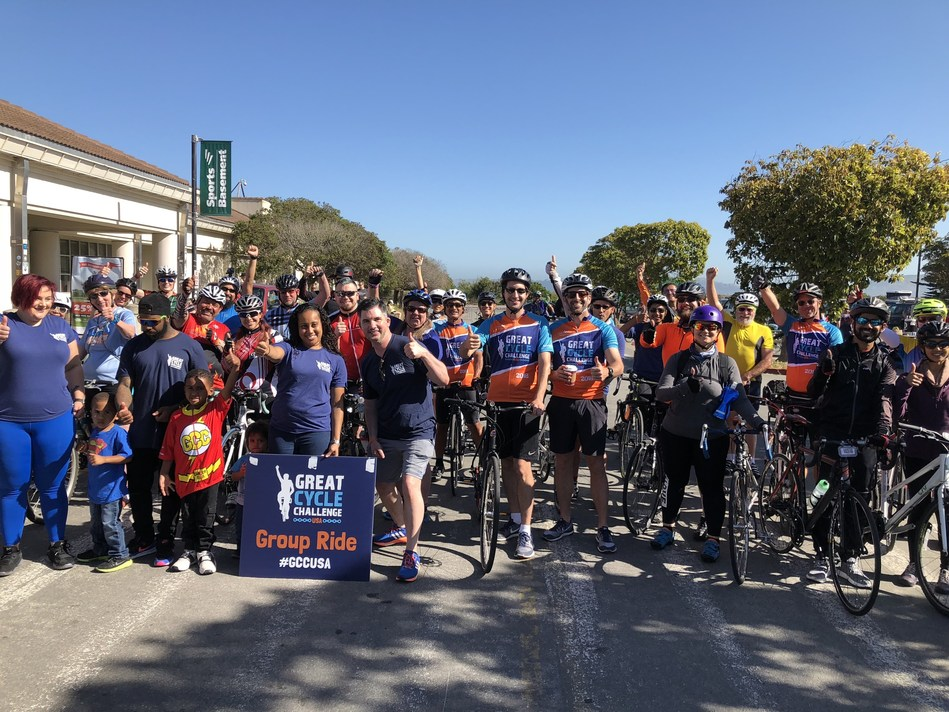 Great Cycle Challenge riders join together for a group in ride in San Francisco.