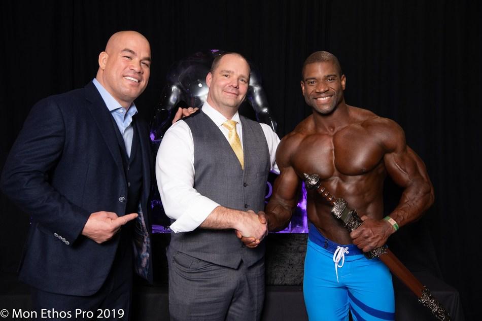 From left: MMA Legend Tito Ortiz, Mon Ethos President David Whitaker and Mon Ethos Pro Athlete Xavisus Gayden