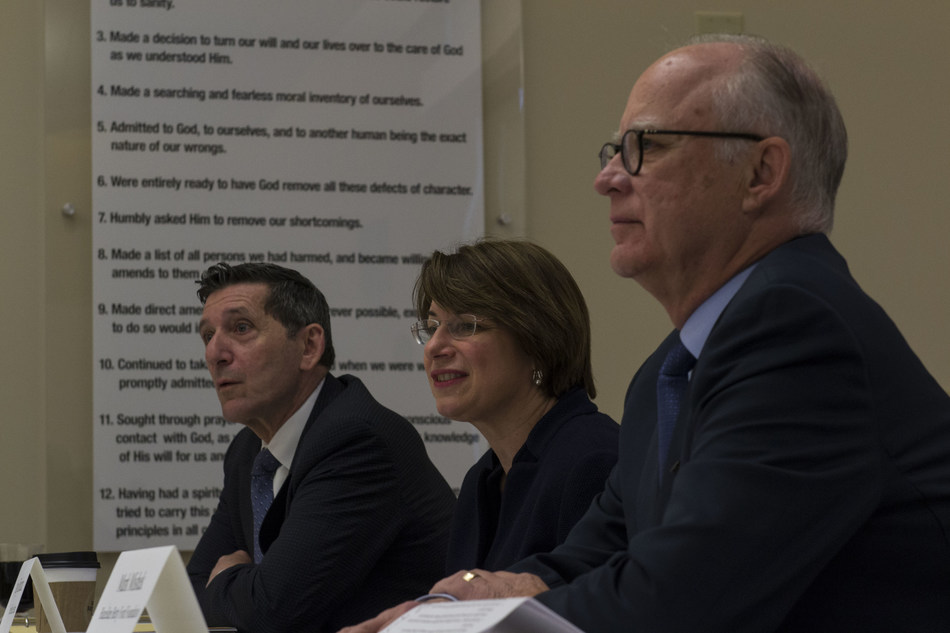 Then-ONDCP Director Michael Botticelli, Sen. Amy Klobuchar, and Hazelden Betty Ford Foundation President and CEO Mark Mishek at a May 13, 2016, community roundtable in Plymouth, Minn.