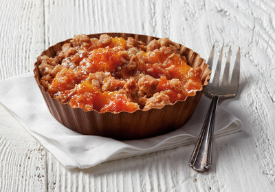 Just in time for spring, the new Peach Cobbler is made with sweet peaches baked in a spiced sugar mixture. This seasonal dessert is then finished with a sweet cinnamon streusel topping.