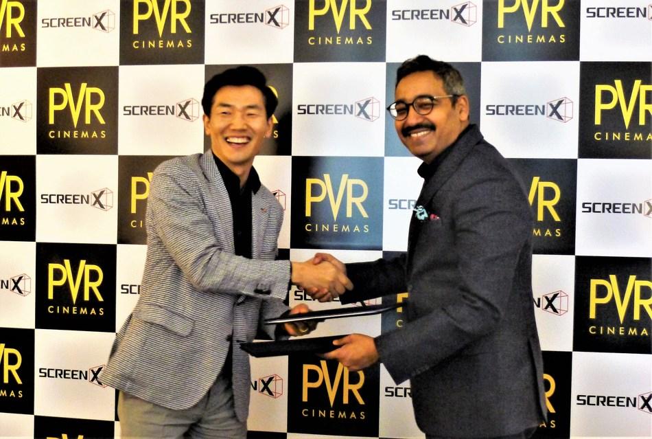 JongRyul Kim, CEO of CJ 4DPLEX (left) and Mr. Gautam Dutta, CEO of PVR Cinemas (right)
