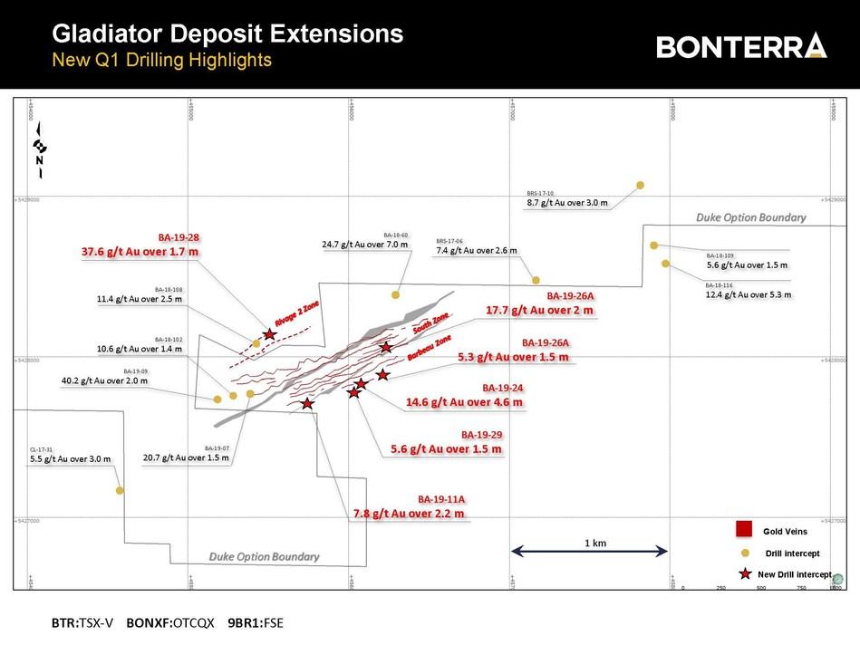 BONTERRA RECOUPE 14,6 G/T AU SUR 4,6 METRES AU PROJET GLADIATOR (Groupe CNW/Bonterra Resources Inc.)