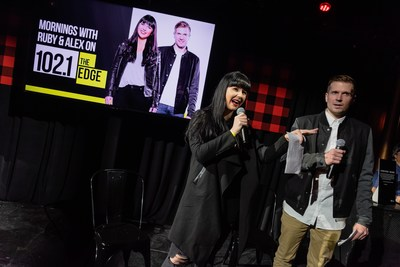 Hosts Ruby and Alex Carr from 102.1 The Edge's Morning Show entertain the crowd at the Adult Swim launch party on April 3, 2019. Photo credit: Ryan Visima (CNW Group/Corus Entertainment Inc.)