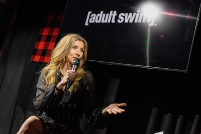 Adult Swim's Rick and Morty star Sarah Chalke speaks with 102.1 The Edge's Morning Show hosts Ruby and Alex Carr at the Adult Swim launch party on April 3, 2019. Photo credit: Ryan Visima (CNW Group/Corus Entertainment Inc.)
