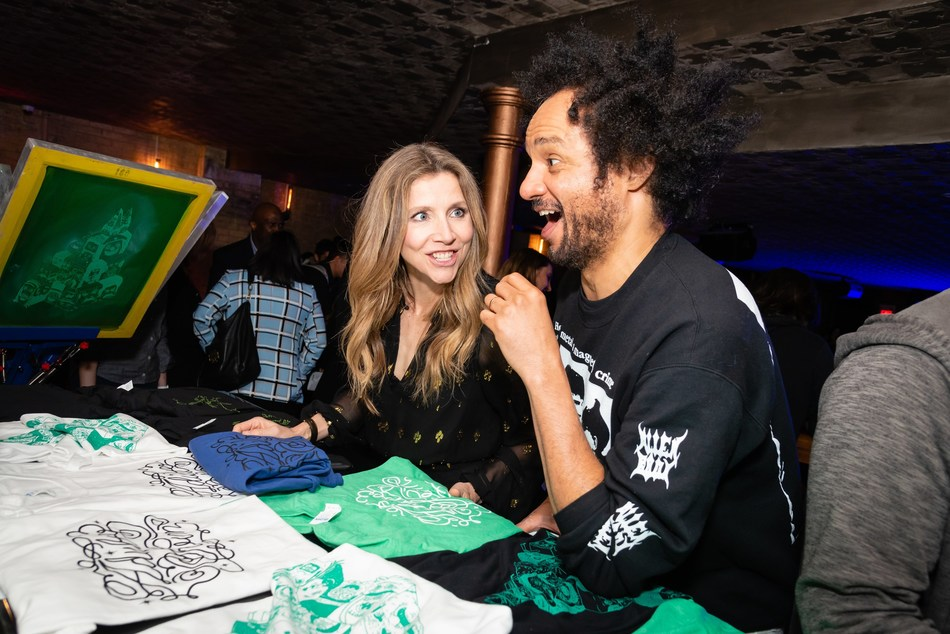 Adult Swim's Rick and Morty star Sarah Chalke and Derrick Beckles from Mostly for Millenials at the Adult Swim launch party on April 3, 2019. Photo credit: Ryan Visima (CNW Group/Corus Entertainment Inc.)