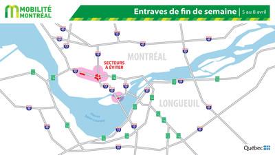 Carte générale des entraves, fin de semaine du 5 au 8 avril (Groupe CNW/Ministère des Transports)