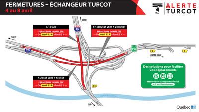 Alerte Turcot, fermetures dans l'échangeur du 4 au 8 avril (Groupe CNW/Ministère des Transports)
