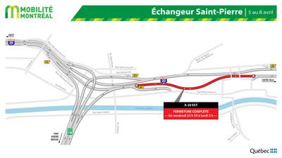 A-20 EST entre échangeur St-Pierre et boulevard Angrignon, fin de semaine du 5 au 8 avril (Groupe CNW/Ministère des Transports)