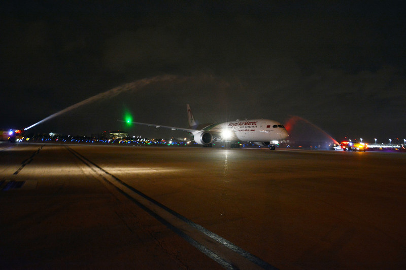 MIA welcomes Royal Air Maroc with a water cannon salute.