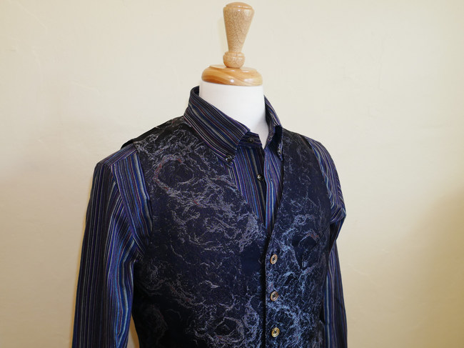HIROMI ASAI Shirt and Vest, made of Ise Momen Cotton and Premier Kimono Silk