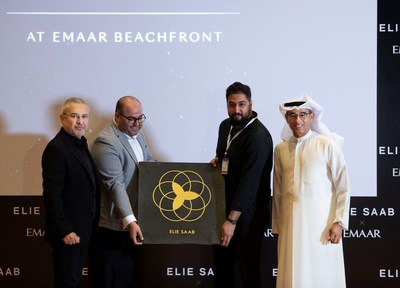 Elie Saab and Mohamed Alabbar pictured today at the launch