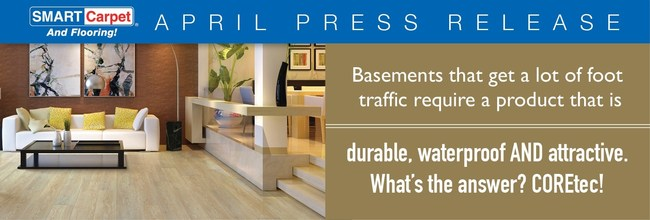 Basements that get a lot of foot traffic require a product that is durable, waterproof AND attractive. What's the answer? COREtec!