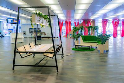 L'Îlot vert, une station de travail collaboratif par Aire Commune. (Groupe CNW/Palais des congrès de Montréal)