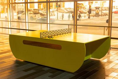 Table de ping-pong créée sur mesure par Labodeco. (Groupe CNW/Palais des congrès de Montréal)