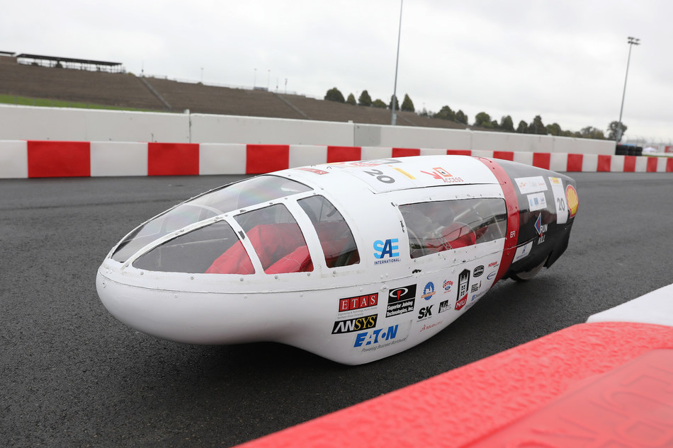 NIU Supermileage team competing under Prototype – Internal Combustion category on the track at Make the Future Live California featuring Shell Eco-marathon Americas at Sonoma Raceway in Sonoma, Calif. (Scot Tucker/AP for Shell)