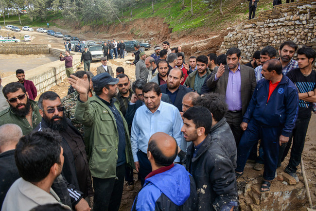 Setad's President while visiting flood-hit areas in Lorestan province.