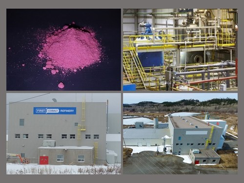Image 1. First Cobalt Refinery exterior, interior and cobalt sulfate material (CNW Group/First Cobalt Corp.)