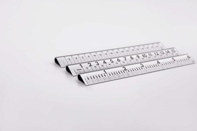 A laser engraved, aerospace aluminium ruler set at a practical 30° angle