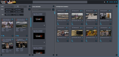 The LiveU Matrix interface is designed to be a highly visual and intuitive way to quickly find the source you need and send or receive the video between stations.