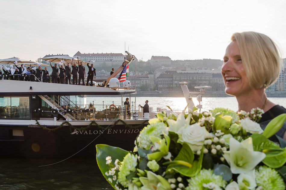 On a sunny, picturesque day in Budapest, Hungary, with the city's landmarks as its setting, Avalon Waterways christened the Avalon Envision.  The ship's godmother, Elizabeth Gilbert – acclaimed author of the award-winning, New York Times-bestselling EAT PRAY LOVE – led the christening ceremony. After reciting her blessing, Ms. Gilbert cut a rope tethered to a bottle of Torley – Hungary's most famous sparkling wine, causing the bottle to smash against the newly named ship's bow.