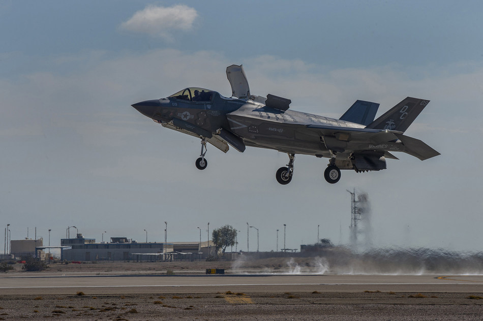 During the demonstration, F-35B pilots used Raytheon's Joint Precision Approach and Landing System (JPALS) on the jet to connect with the expeditionary system on the ground from 200 nautical miles away. From there, the system guided the pilot to a designated landing point on the runway.