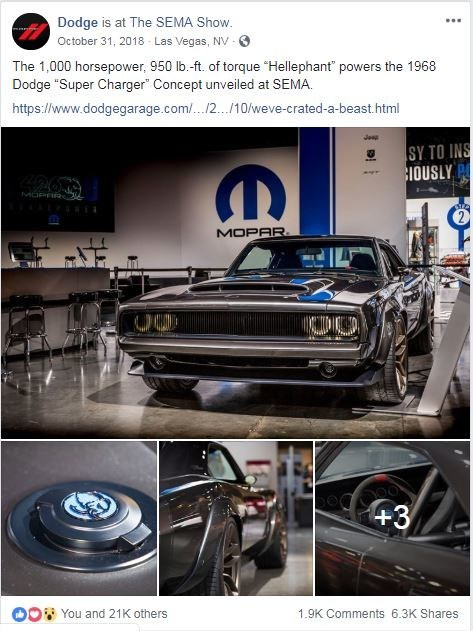 "Dodge is the  'most-loved"" automotive brand on Facebook in 2018."