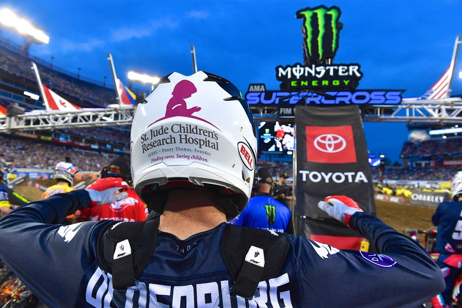 Supercross athlete Mitchell Oldenburg in his St. Jude inspired gear at Monster Energy Supercross and St. Jude Charitable Event at Nissan Stadium on April 6, 2019 in Nashville, Tennessee. (Photo by Jason Davis/Getty Images for Feld Entertainment)