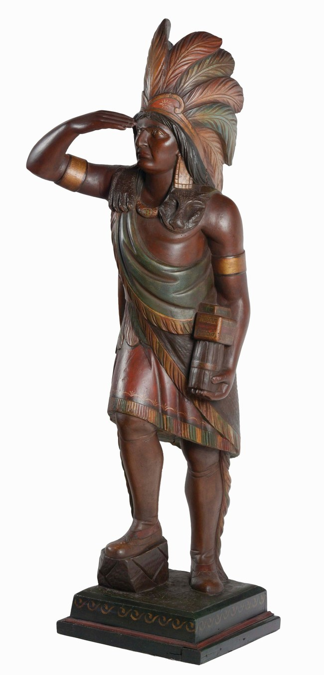 Exceptional Samuel Robb cigar store Indian chief, 19th century, all original finish, 78in. tall, Robb studio photo match. Estimate: $70,000-$100,000